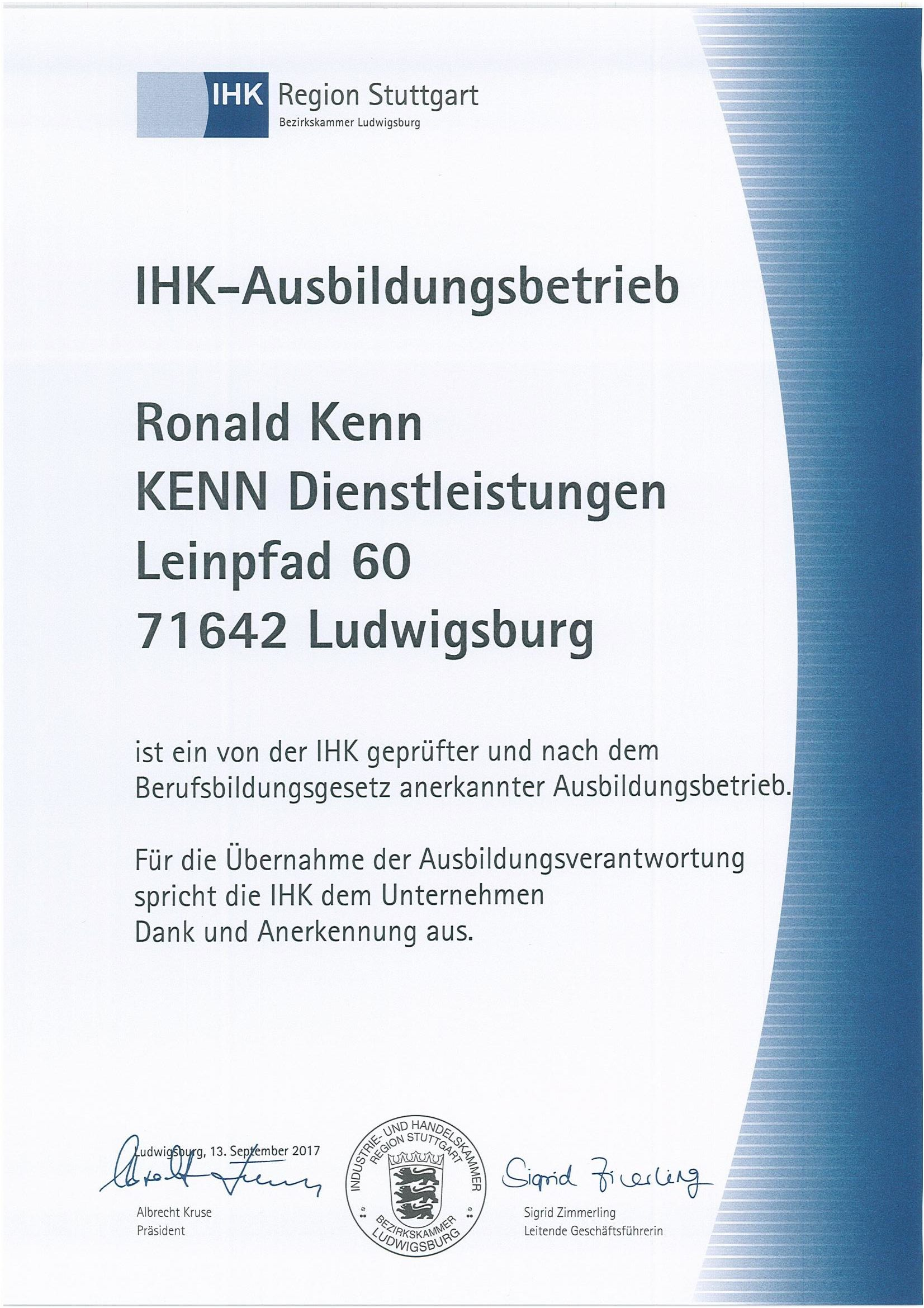 Zertifikat IHK-Ausbildungsbetrieb