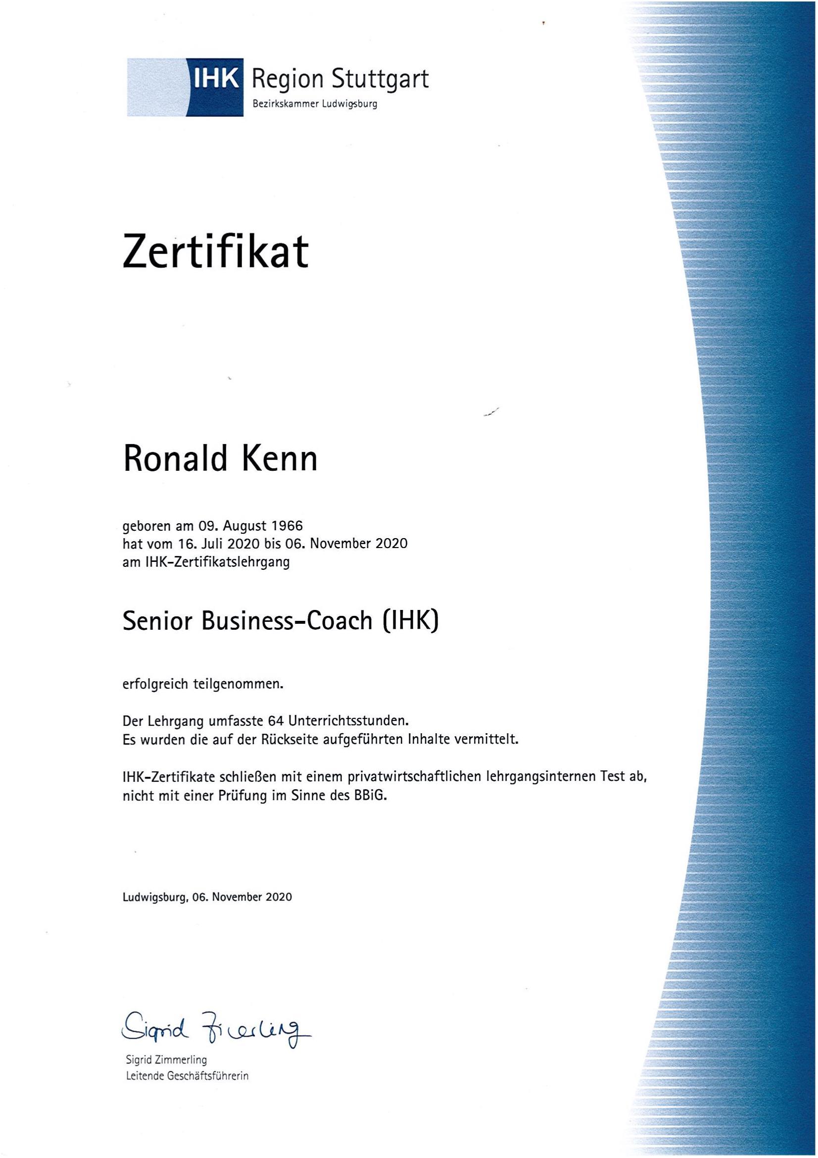 Zertifikat IHK Senior Business Coach