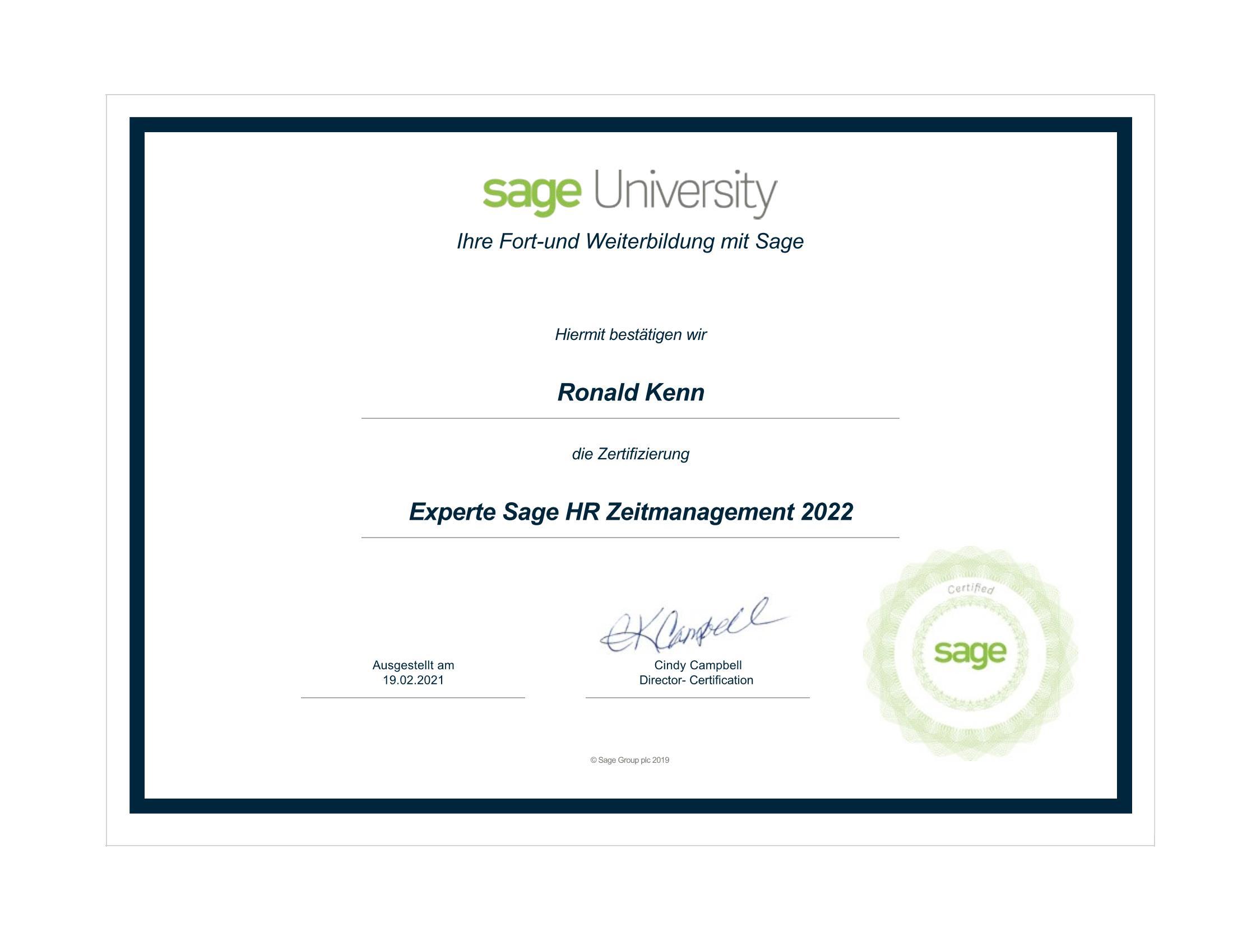Zertifikat sage HR Zeitmanagement